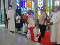 Ankunft in der Jesuskindkathedrale in Salem, Tamil Nadu, Indien